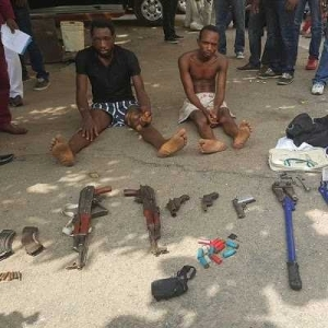 Lagos State Police arrest two armed robbers that were part of the gang that attacked comedian Basketmouth
